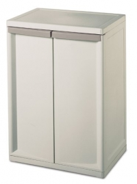 Sterilite 01408501 2-Shelf Base Cabinet with Putty Handles, Platinum
