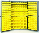 Akro-Mils HD4824 E Heavy Duty Steel Louvered Storage Cabinet with 216 Yellow AkroBins, 48 W x 24 D x 78 H