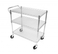 Seville Classics SHE18304 18-Inch by 34-Inch by 33-1/2-Inch Industrial All-Purpose Utility Cart, Chrome