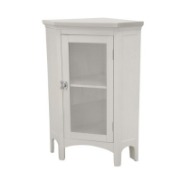 Elegant Home Fashions Madison Avenue Collection Shelved Corner Floor Cabinet, White