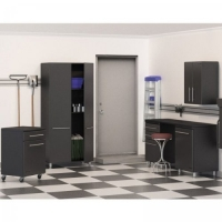 6Piece UltiMATE Garage Storage System Graphite Gray Doors/Black Cabinet