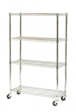 Seville Classics 4 Shelf, 14-Inch by 36-Inch by 54-Inch Shelving System with Wheels