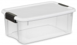 Sterilite 19848006 18-Quart Ultra Storage Box, White Lid See-Through Base with Black Latches, 6-Pack