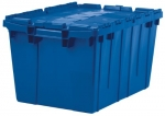 Akro-Mils 39120 Plastic Storage and Distribution Container Tote with Hinged Lid, 21.5-Inch L by 15-Inch W by 12.5-Inch H, Blue, Case of 6
