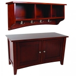 Alaterre Shaker Cottage Storage Coat Hook and Storage Bench/Cabinet Set, Cherry