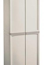 01428501 Sterilite 4 Shelf Utility Cabinet with Putty Handles, Platinum (Complete Set)