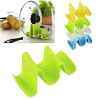 4pcs Multifunctional Multicolor Ware Tool Kitchen Plastic Waveform Spoon Pots Pans Cookware Lid Storage Holder Rack