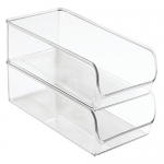 InterDesign Linus Refrigerator and Freezer Storage Organizer Bins for Kitchen, 11 x 5.5 x 3.5, Set of 2, Clear