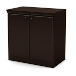Stylish and Practical South Shore Morgan 2-Door Storage Cabinet, Multiples Finishes (Chocolate)