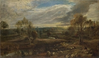 Oil Painting 'Peter Paul Rubens A Landscape With A Shepherd And His Flock ' Printing On Polyster Canvas , 10 X 17 Inch / 25 X 43 Cm ,the Best Garage Gallery Art And Home Artwork And Gifts Is This High Quality Art Decorative Canvas Prints