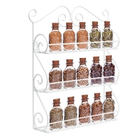 Decorative Wall Mounted 3 Tier Wall Hanging Kitchen Spice Rack Nail Polish Holder Essential Oil Organizer (White)
