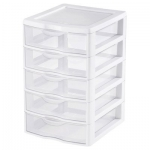 Sterilite Clearview Small 5 Drawer Unit, 4-Pack