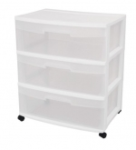Sterilite 29308001 3-Drawer Wide Cart with See-Through Drawers and Black Casters, White