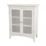 Elegant Home Fashions Madison Avenue Collection Shelved Double-Door Floor Cabinet, White