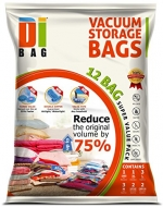 DIBAG ® 12 Bags Pack - Vacuum Storage Space Saver Bags. 1 Jumbo (48''X35'') (122X89 cm)+ 1 XL (39.37''X26.37'') (100X67 cm) + 3 Large (33.46''X21.25'') (85X54 cm) +3 Medium (22.44''X17.71'') (57X45 cm) + 2 Suitcase Travel Roll-up Bags (22.44''X17.71'') (