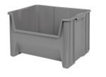 Akro-Mils 13017 Stak-N-Store Stacking Hopper Front Plastic Storage Bin, Grey, Case of 3