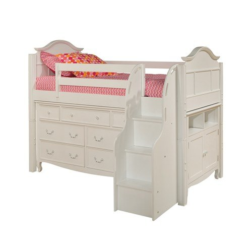 Bolton furniture 9881500ls8320msb emma low loft storage bed with stairs 7 drawer dresser - Bunk bed with drawer steps ...