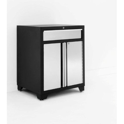 Newage stainless steel pro series base garage cabinet with for Stainless steel kitchen base cabinets
