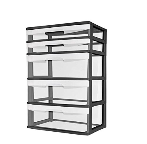 Sterilite 5 Drawer Wide Tower With See Through Drawers